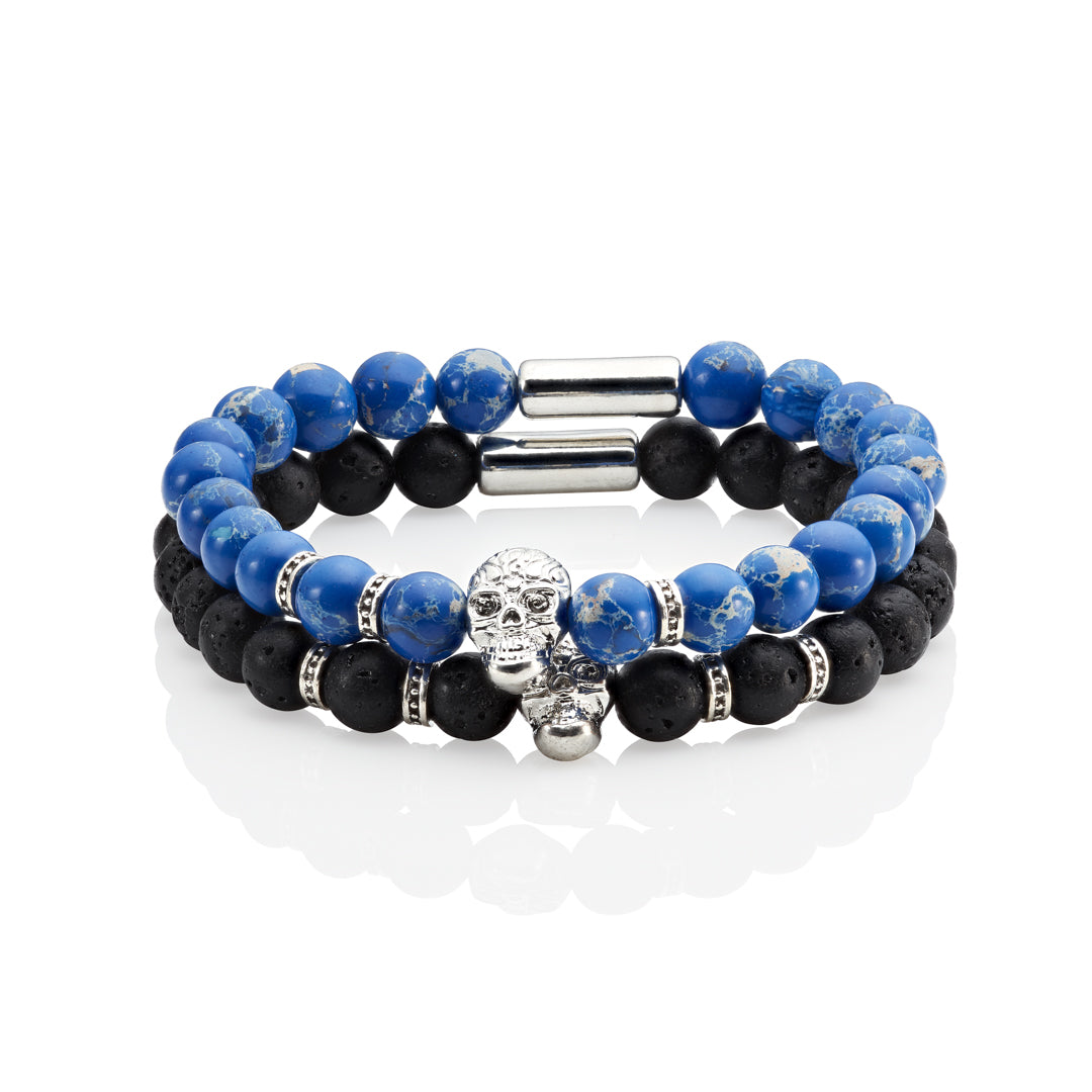 men pair of stacked bracelets volcanic beads