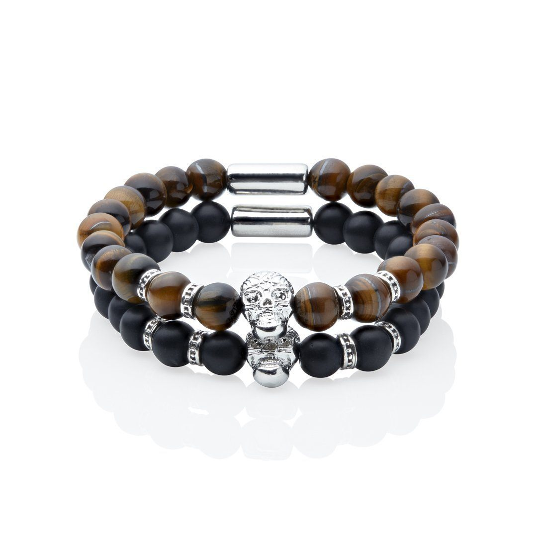 razzle stacked skull bracelet brown and black bracelets