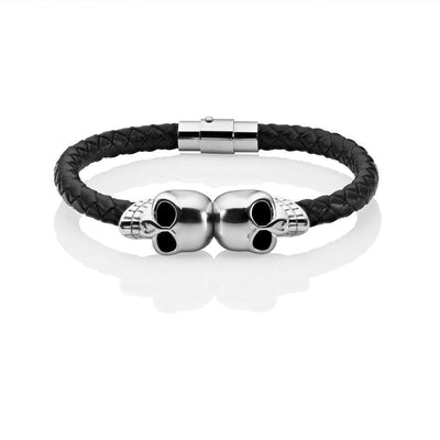 Sinister silver skull bracelet black leather bangel twin skulls
