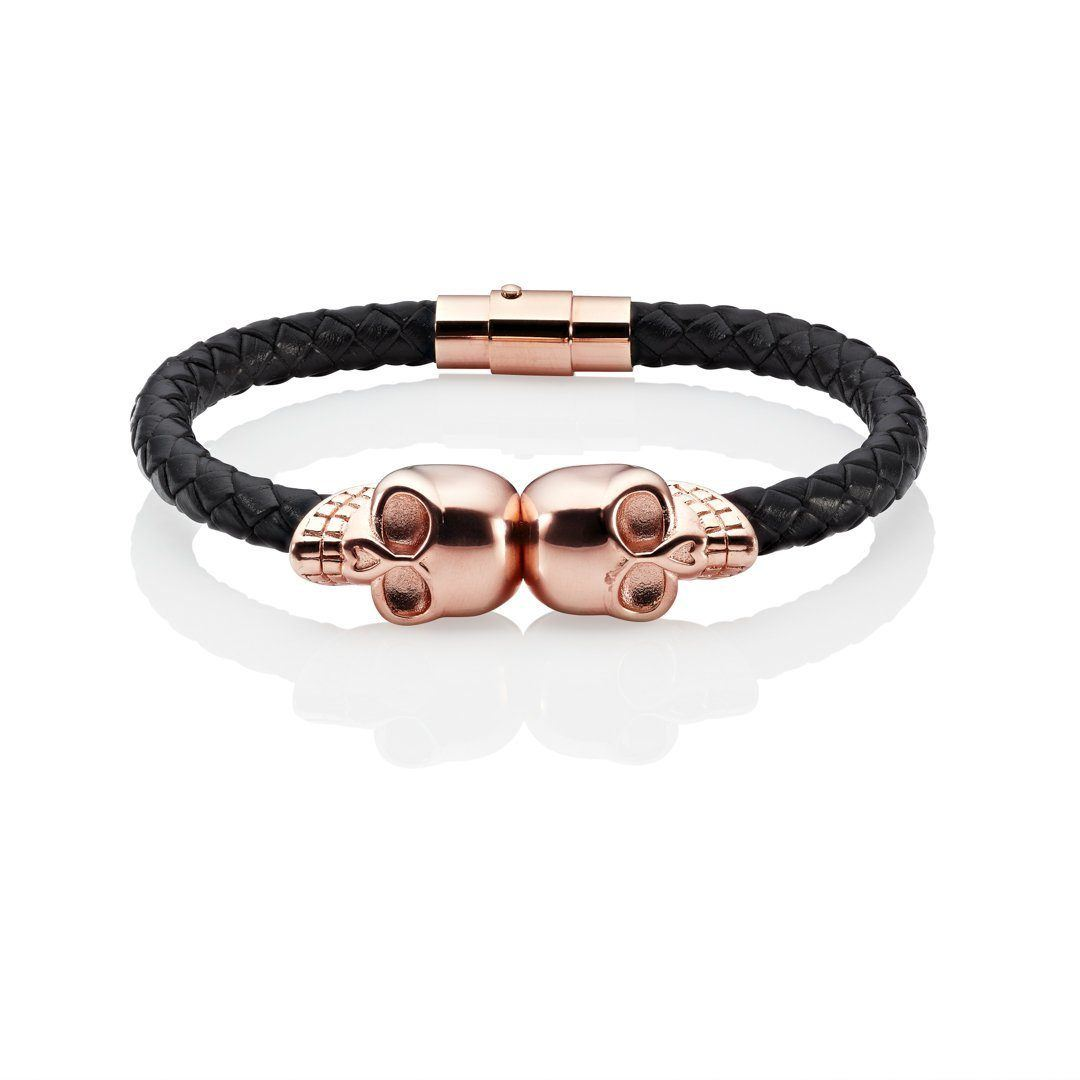 rose gold skull bracelet black leather band twin skulls