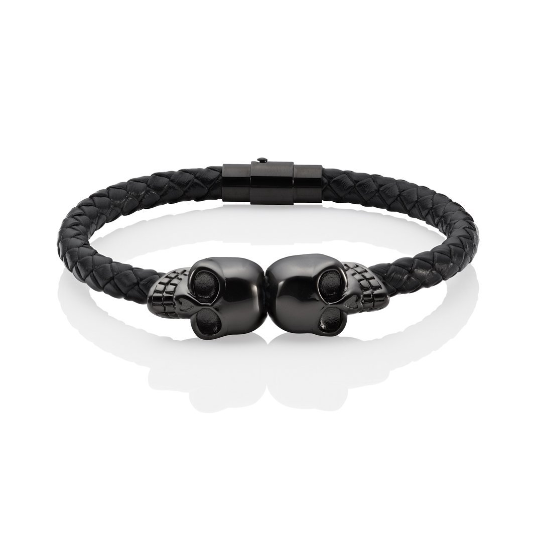 anarchy skull bracelet black leather twin skulls