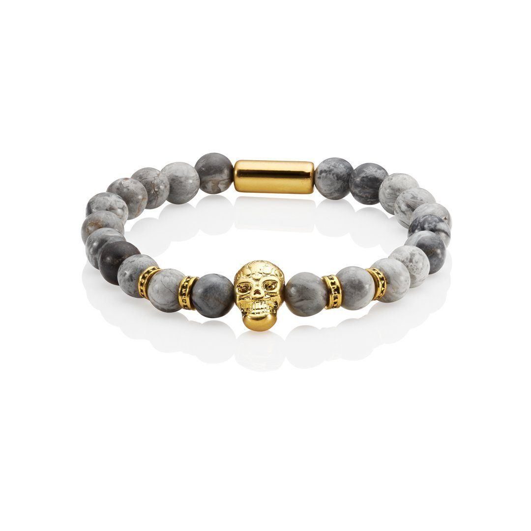 Jagger beaded skull bracelet gold and grey