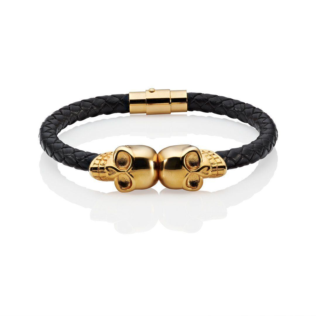 skull bracelet black leather gold twin skulls