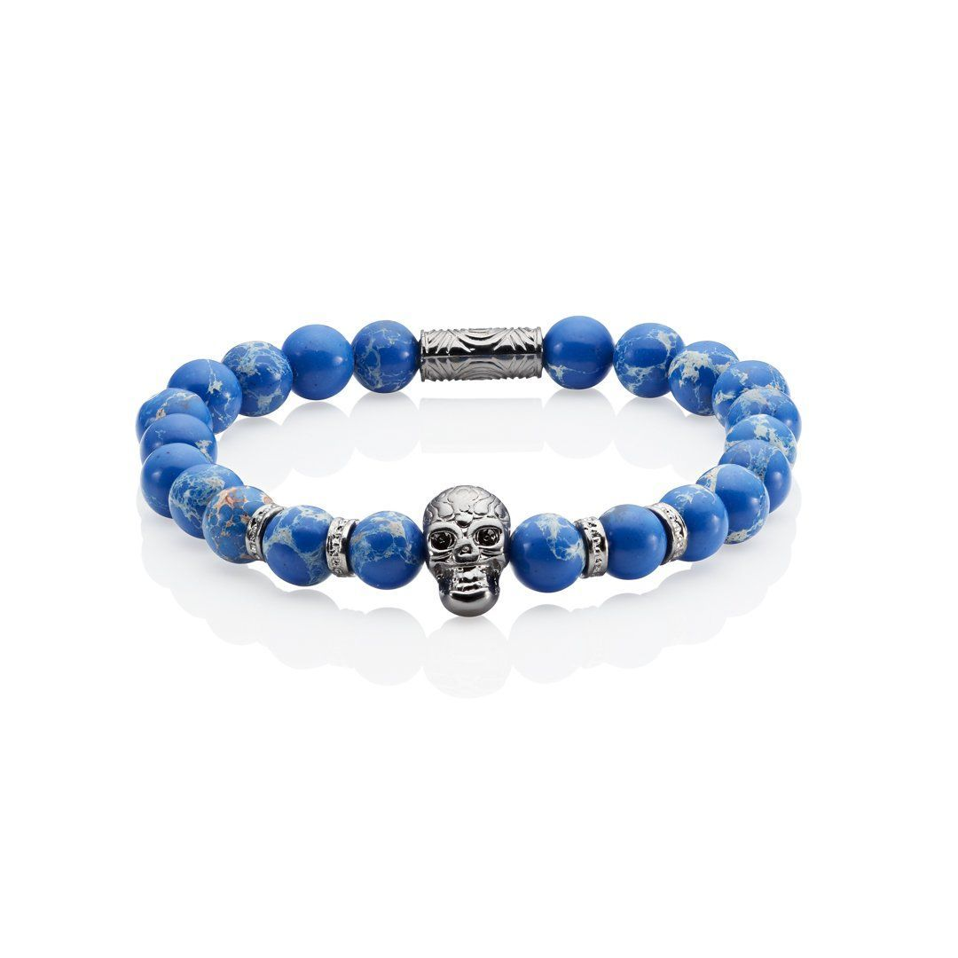 blue skull bracelet beaded with silver skulls