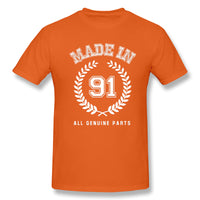 Made In 91 All Genuine Parts Men's Basic Short Sleeve T-Shirt