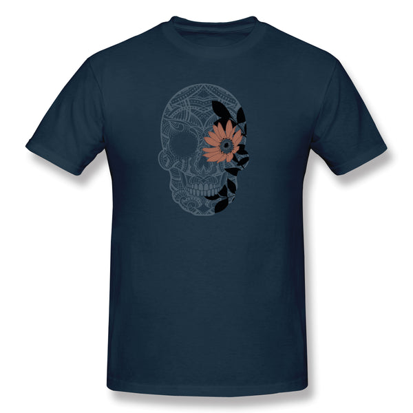 Floral Skull Skull Men's Basic Short Sleeve T-Shirt