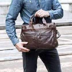 Authentic Leather Shoulder/Laptop Briefcase Messenger/Crossbody Bag
