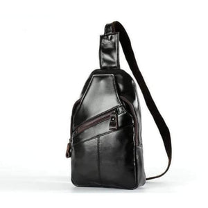100% full grain leather crossbody chest bag coffee black premium leather