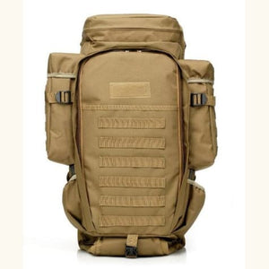 60l Outdoor Waterproof Tactical Backpack Khaki Premium Leather