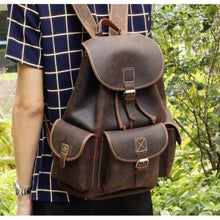 Load image into Gallery viewer, Adventurous Leather Dark Coffee Backpack