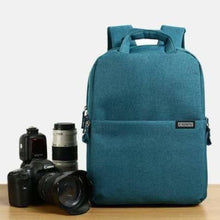 Load image into Gallery viewer, Aesthetic Canvas Dslr Camera Backpack Blue Premium Leather