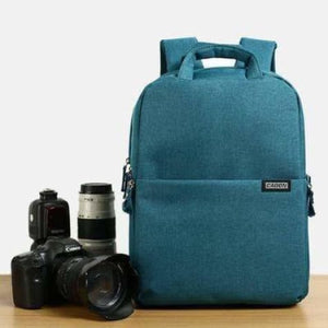 Aesthetic Canvas Dslr Camera Backpack Blue Premium Leather