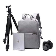 Load image into Gallery viewer, Aesthetic Canvas Dslr Camera Backpack Grey Premium Leather