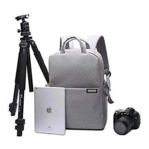 Aesthetic Canvas Dslr Camera Backpack Grey Premium Leather
