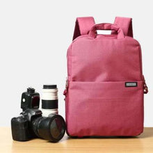 Load image into Gallery viewer, Aesthetic Canvas Dslr Camera Backpack Red Premium Leather