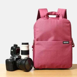 Aesthetic Canvas Dslr Camera Backpack Red Premium Leather