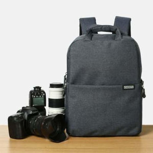 Aesthetic Canvas Dslr Camera Backpack Dark Grey Premium Leather