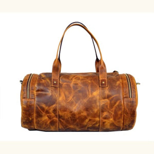 Auburn Unisex full Grain Leather Overnight Bag Premium Leather