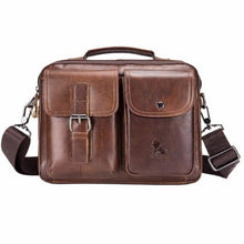Load image into Gallery viewer, Authentic Cowhide Leather Messenger Briefcase/cross Body Bag Brown Premium Leather