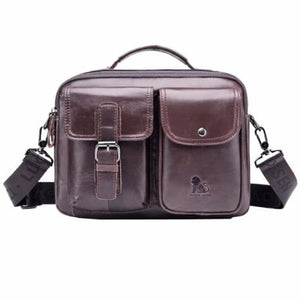 Authentic Cowhide Leather Messenger Briefcase/cross Body Bag Coffee Premium Leather