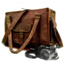 Load image into Gallery viewer, Authentic Goat Leather Brown Messenger Bag/satchel Premium Leather