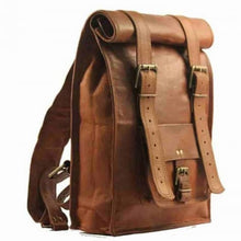 Load image into Gallery viewer, Authentic Handcrafted Leather Roll top Backpack Premium Leather