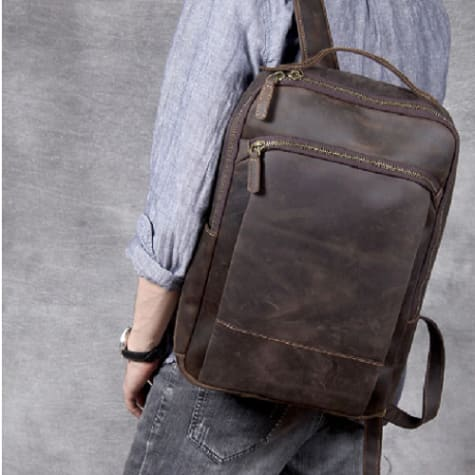 Authentic Leather Computer Laptop Bag/anti Theft back Pack Coffee Premium Leather