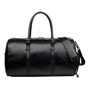 Authentic Leather Duffel and Sports Training Bag Black Premium Leather