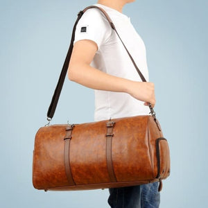 Authentic Leather Duffel and Sports Training Bag Brown Premium Leather