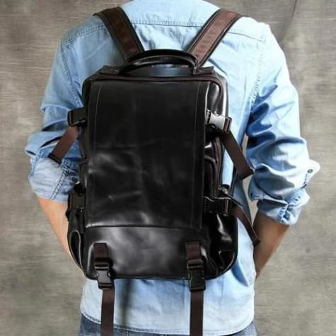 Authentic Leather Mountaineering Backpack and Shoulder Travel Bag Premium Leather