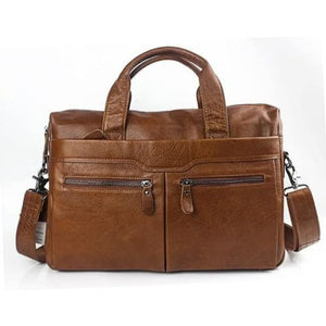 Authentic Leather Shoulder/laptop Briefcase Messenger/crossbody Bag Brown Premium Leather