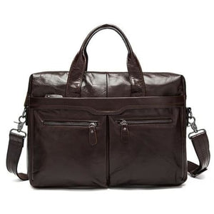 Authentic Leather Shoulder/laptop Briefcase Messenger/crossbody Bag Premium Leather