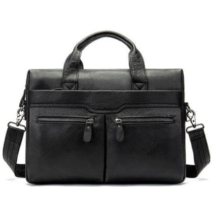 Authentic Leather Shoulder/laptop Briefcase Messenger/crossbody Bag Blackyapi Premium Leather