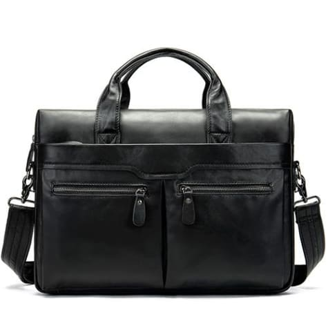 Authentic Leather Shoulder/laptop Briefcase Messenger/crossbody Bag Blackglossy Premium Leather