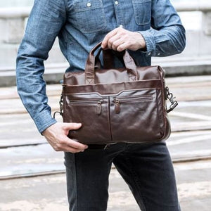 Authentic Leather Shoulder/laptop Briefcase Messenger/crossbody Bag Coffee Premium Leather