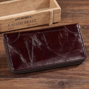 Authentic Leather Wallet Vintage Long Purse Bifold Zipper Premium Leather