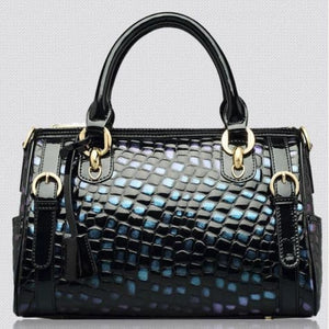 Authentic Leather Women's Fashion Leopard Print Handbag Blue Premium Leather