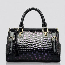 Load image into Gallery viewer, Authentic Leather Women's Fashion Leopard Print Handbag Purple Premium Leather