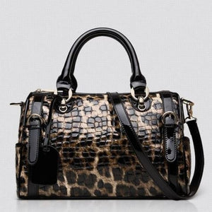 Authentic Leather Women's Fashion Leopard Print Handbag Premium Leather