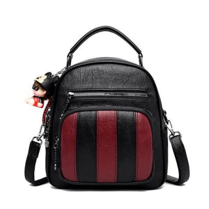 Authentic Sheepskin Leather Fashion Multifunctional Backpack Black-winered 200002984 Premium Leather