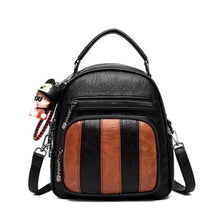 Load image into Gallery viewer, Authentic Sheepskin Leather Fashion Multifunctional Backpack Black-brown 365458 Premium Leather