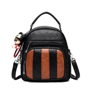 Authentic Sheepskin Leather Fashion Multifunctional Backpack Black-brown 365458 Premium Leather