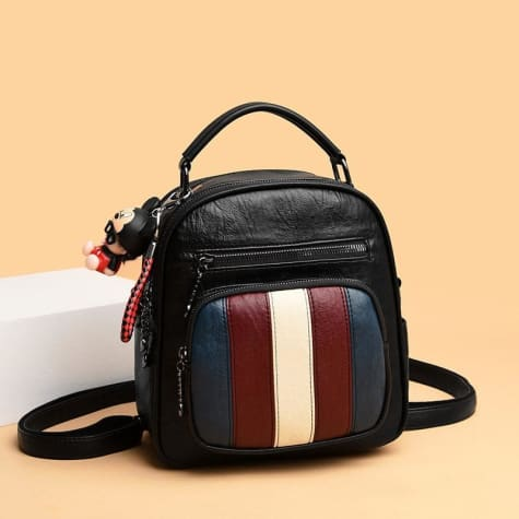 Authentic Sheepskin Leather Fashion Multifunctional Backpack Red-blue-white 173 Premium Leather