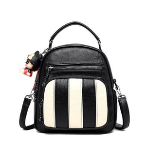 Authentic Sheepskin Leather Fashion Multifunctional Backpack Black-white 29 Premium Leather