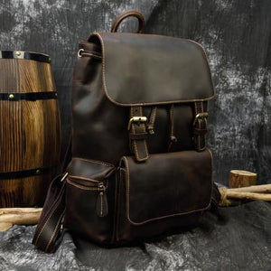 Authentique Crazy Horse Leather Backpack/travel Bag Brown Premium Leather