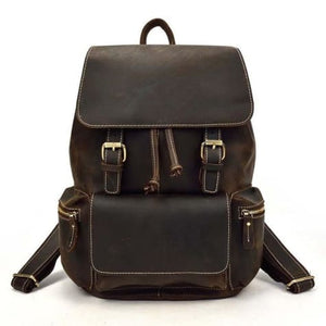 Authentique Crazy Horse Leather Backpack/travel Bag Dark Brown Premium Leather