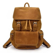 Load image into Gallery viewer, Authentique Crazy Horse Leather Backpack/travel Bag Yellow Brown Premium Leather