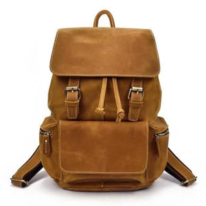 Authentique Crazy Horse Leather Backpack/travel Bag Yellow Brown Premium Leather