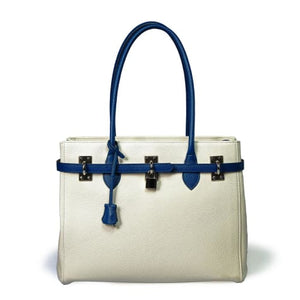 Bellini Ansano Authentic Leather Handbag Tote White with Blue Premium Leather