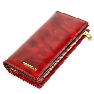 Beth Cat Authentic top Grain Leather Women's Wallet Red Premium Leather